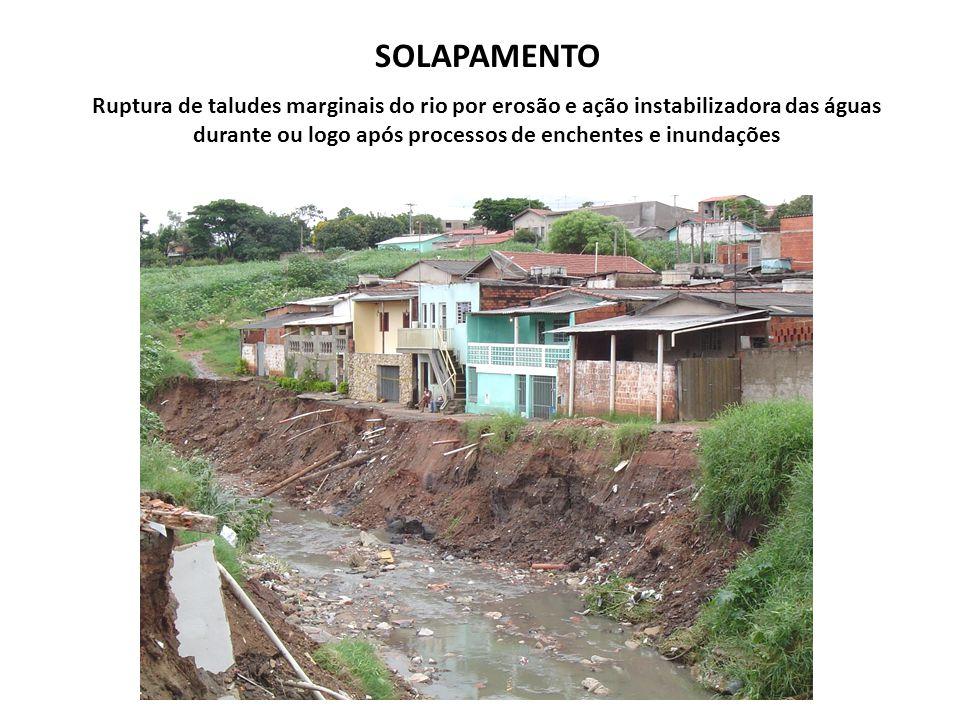SOLAPAMENTO Ruptura de taludes marginais do rio por erosão e ação instabilizadora das águas durante ou logo após processos de enchentes e inundações