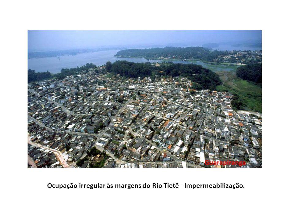 Ocupação irregular às margens do Rio Tietê - Impermeabilização. Guarapiranga