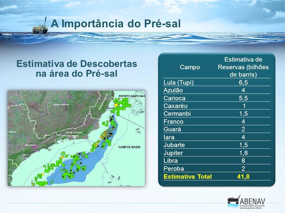 A Importância do Pré-sal Campo Estimativa de Reservas (bilhões de barris) Lula (Tupi)6,5 Azulão4 Carioca5,5 Caxaréu 1 Cermanbi1,5 Franco4 Guará2 Iara4