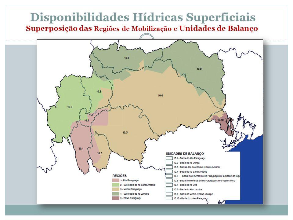 Disponibilidades Hídricas Superficiais Superposição das Regiões de Mobilização e Unidades de Balanço