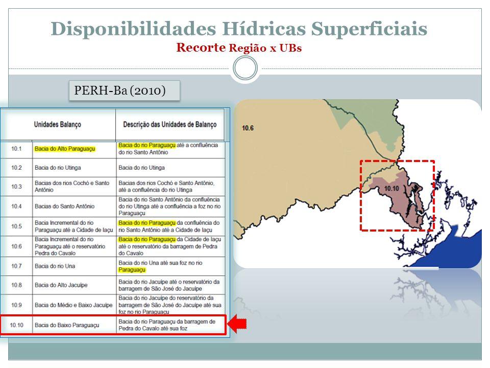 Disponibilidades Hídricas Superficiais Recorte Região x UBs PERH-Ba (2010)