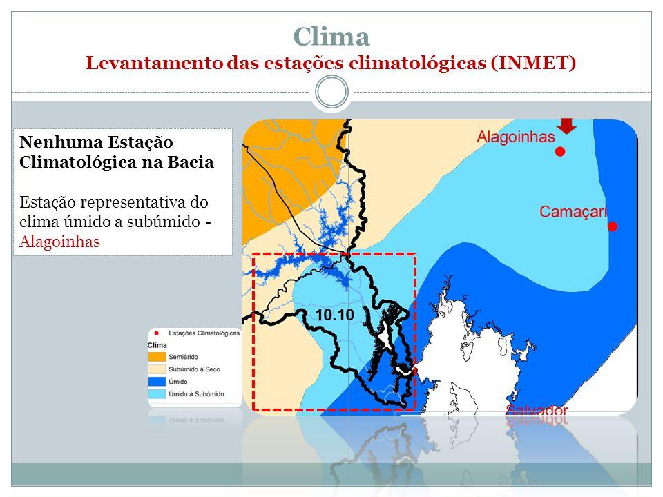 Clima Levantamento das estações climatológicas (INMET) Nenhuma Estação Climatológica na Bacia Estação representativa do clima úmido a subúmido - Alagoinhas