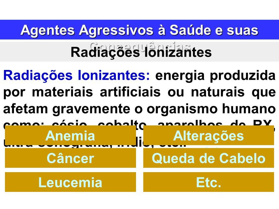 Riscos Físicos 3 - RADIAÇÃO IONIZANTE São emissões de energia em diversos níveis, desde a fixa do visível, passando pelo ultra-violeta, raio-X, raio g