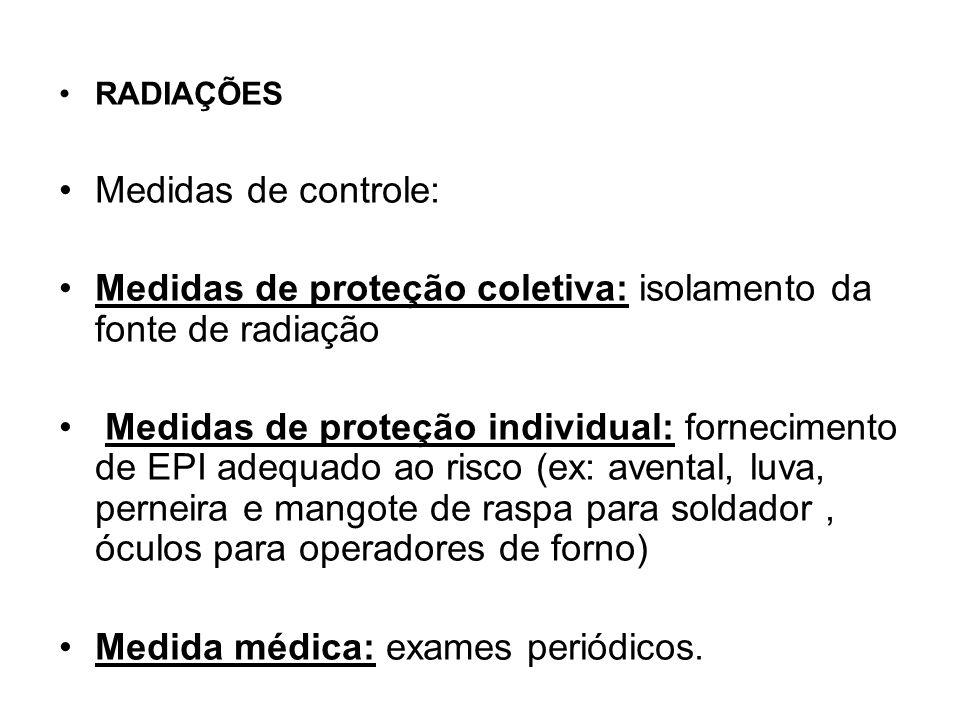 Radiação Lesões no corpo do trabalhador perturbações visuais (conjuntivites, cataratas), queimaduras, lesões na pele,