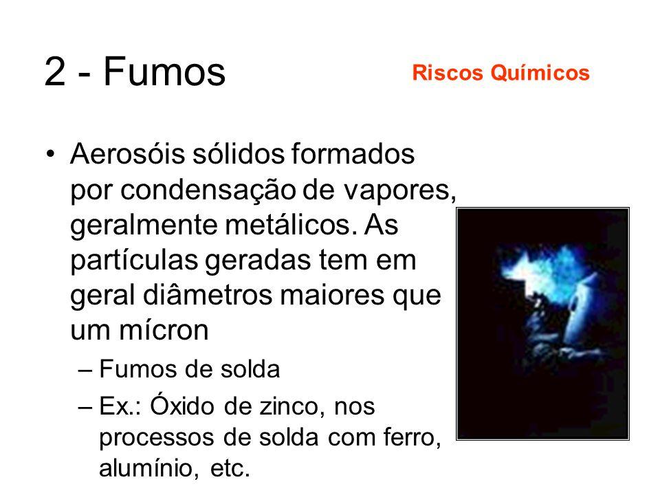 1 - Poeiras Aerosóis sólidos formados por desagregação mecânica de corpos sólidos. As partículas geradas tem em geral diâmetros maiores que um mícron