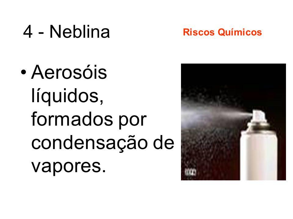 3 - Névoas Aerosóis constituídos por partículas líquidas, independente da natureza e do diâmetro das partículas, formadas por desagregação mecânica de corpos líquidos.
