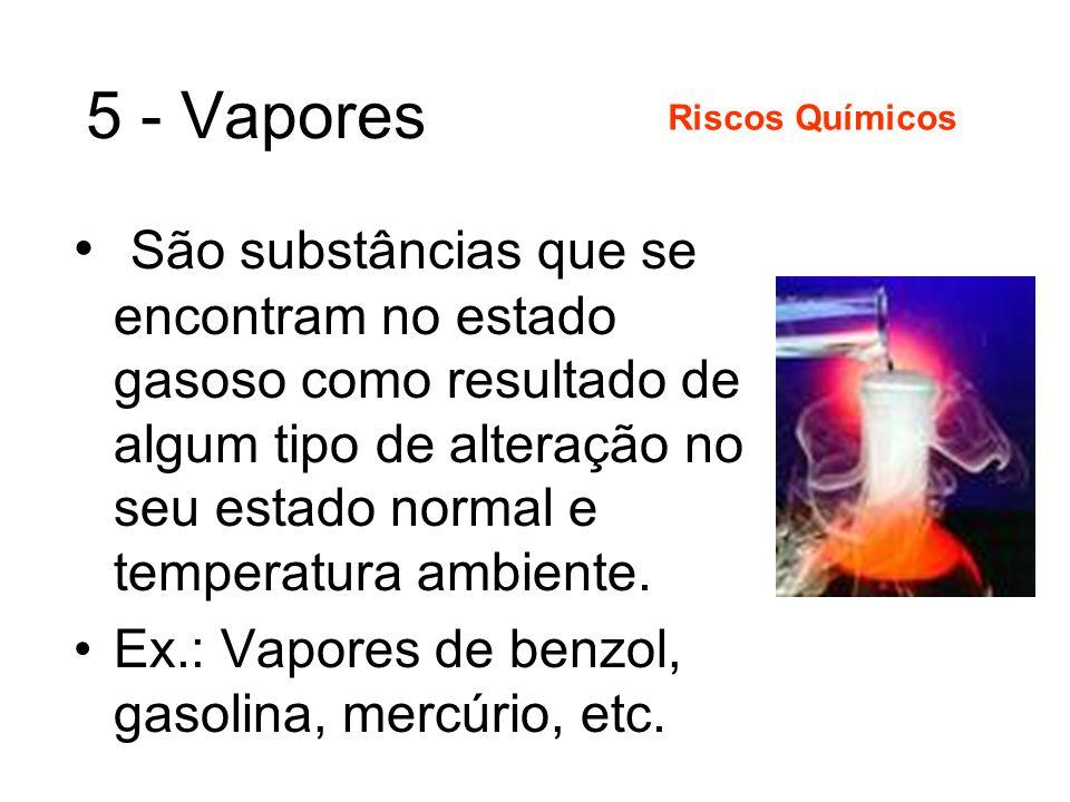 4 - Neblina Aerosóis líquidos, formados por condensação de vapores. Riscos Químicos