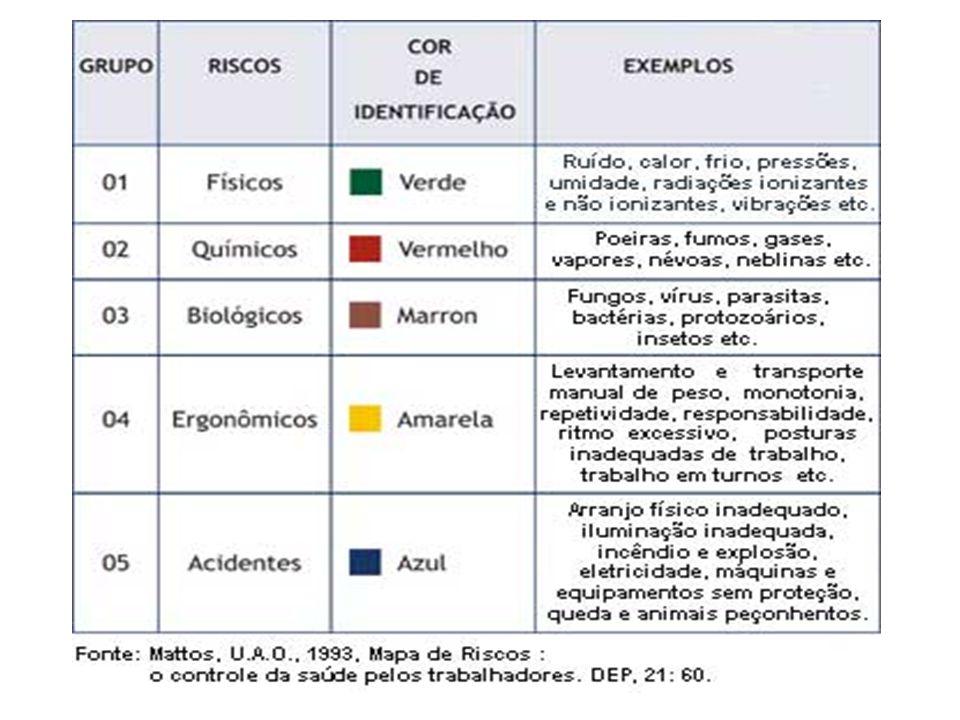 Riscos ambientais Riscos de acidentes Variados (falta de iluminação, probabilidade de incêndio, explosão, piso escorregadio, armazenamento, arranjo fí