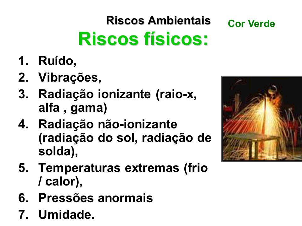 Riscos Ambientais: A norma considera como riscos ambientais os agentes: –físicos, –químicos –biológicos –riscos ergonômicos –riscos de acidentes Risco
