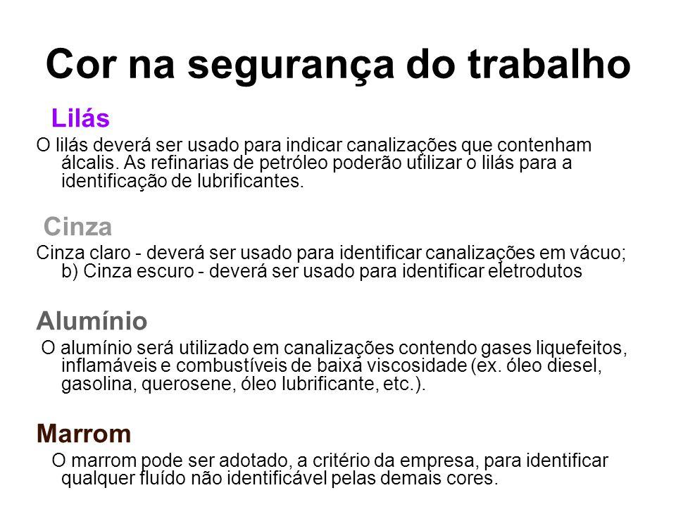 Púrpura A púrpura deverá ser usada para indicar os perigos provenientes das radiações eletromagnéticas penetrantes de partículas nucleares.
