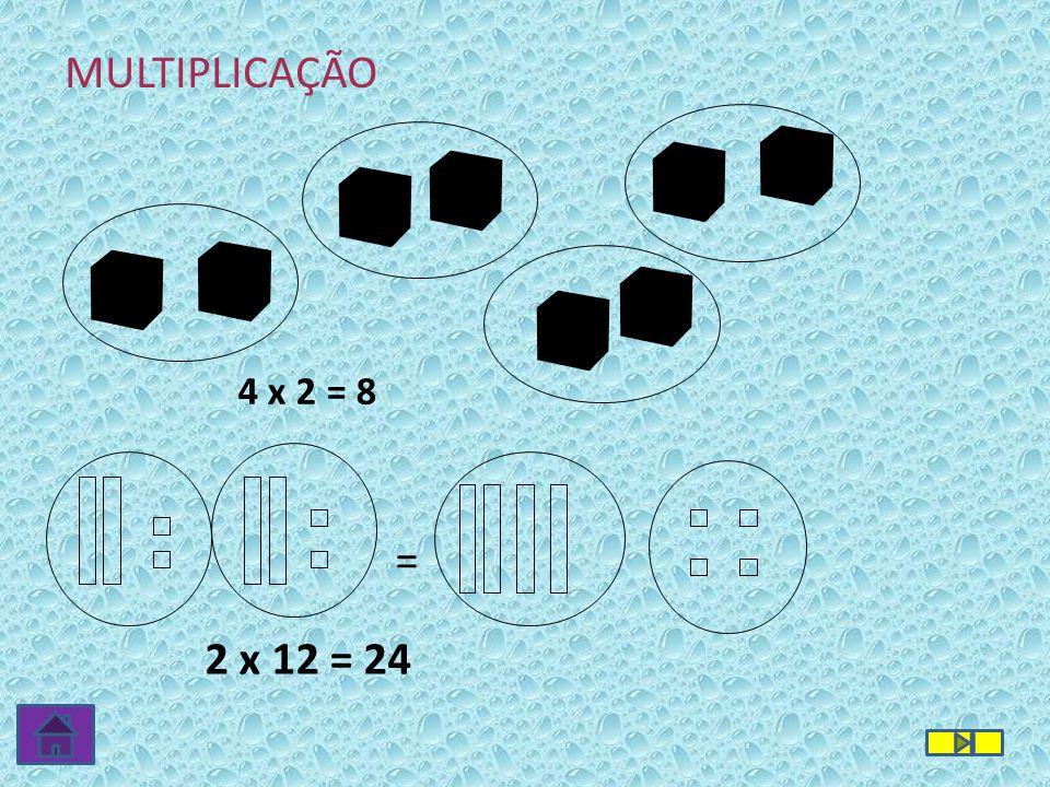 4 x 2 = 8 2 x 12 = 24 = MULTIPLICAÇÃO