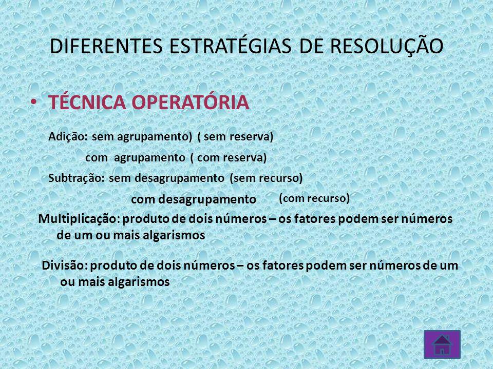 TÉCNICA OPERATÓRIA Adição: sem agrupamento) ( sem reserva) com agrupamento ( com reserva) Subtração: sem desagrupamento (sem recurso) DIFERENTES ESTRA