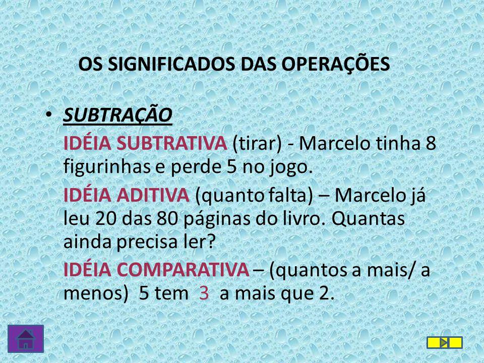 SUBTRAÇÃO IDÉIA SUBTRATIVA (tirar) - Marcelo tinha 8 figurinhas e perde 5 no jogo. IDÉIA ADITIVA (quanto falta) – Marcelo já leu 20 das 80 páginas do