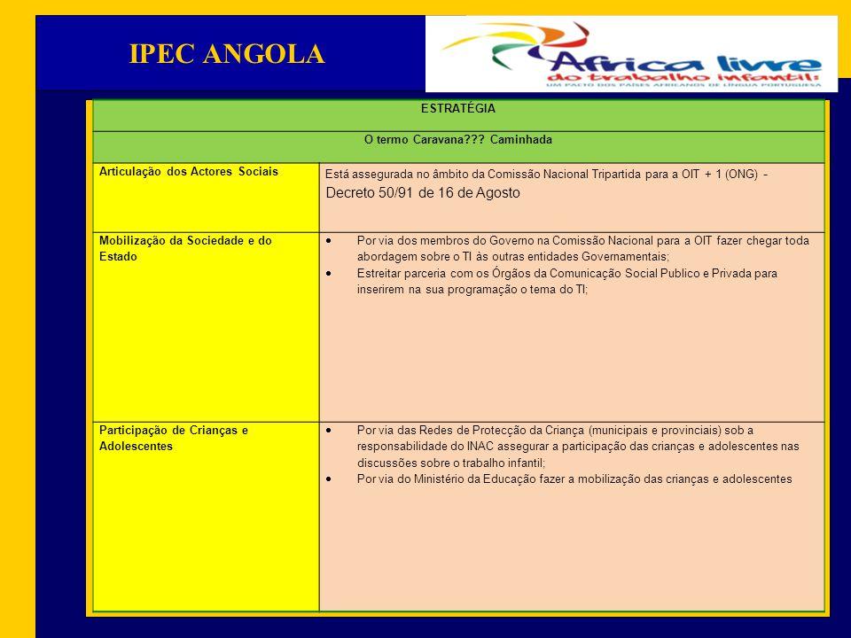 IPEC ANGOLA OBJECTIVOS Políticas Pública Assegura a observância da Constituição de Angola e demais diplomas ordinários atinentes a protecção da criança e de maneira particular, ligadas ao combate do TI; Propor junto do Governo que o estudo comparado sobre o TI realizado em Angola seja levado em consideração durante o processo de revisão da Lei Geral do Trabalho.
