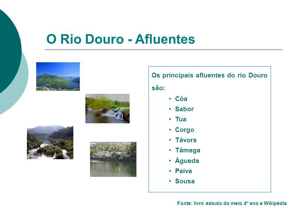 Os principais afluentes do rio Douro são: Côa Sabor Tua Corgo Távora Tâmega Águeda Paiva Sousa O Rio Douro - Afluentes Fonte: livro estudo do meio 4º