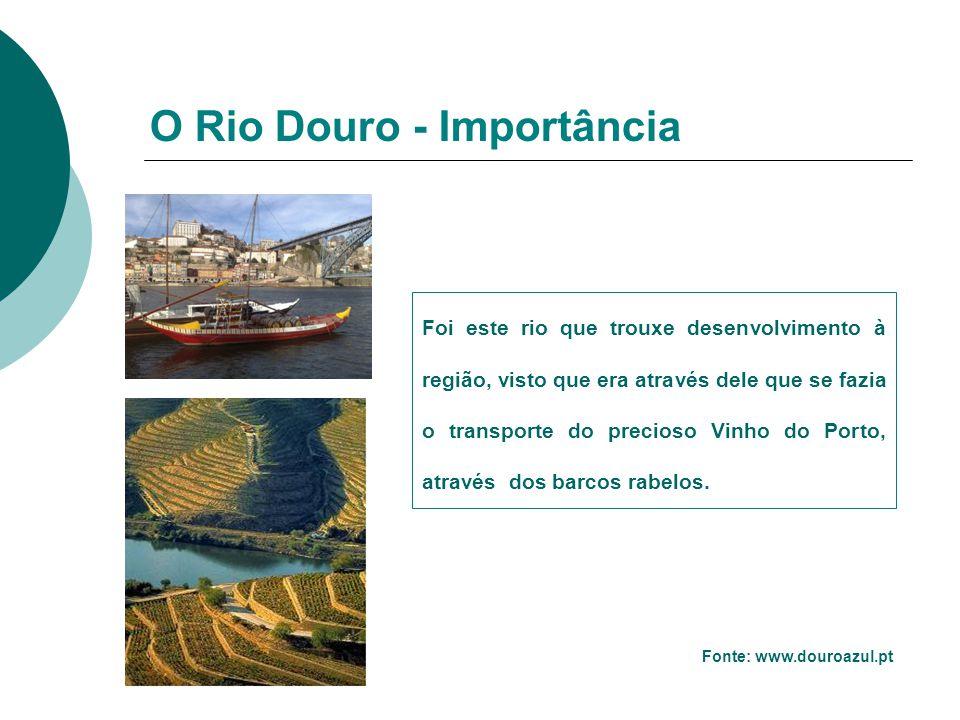 O Rio Douro - Importância Fonte: www.douroazul.pt Foi este rio que trouxe desenvolvimento à região, visto que era através dele que se fazia o transpor