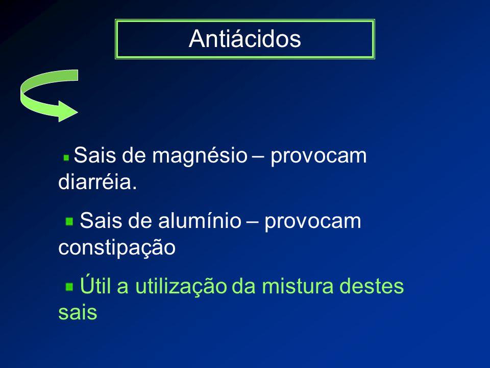 Antiácidos Sais de magnésio – provocam diarréia.