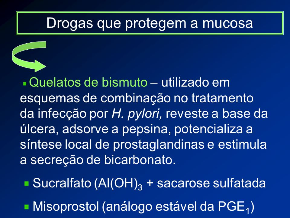 Drogas que protegem a mucosa Quelatos de bismuto – utilizado em esquemas de combinação no tratamento da infecção por H.