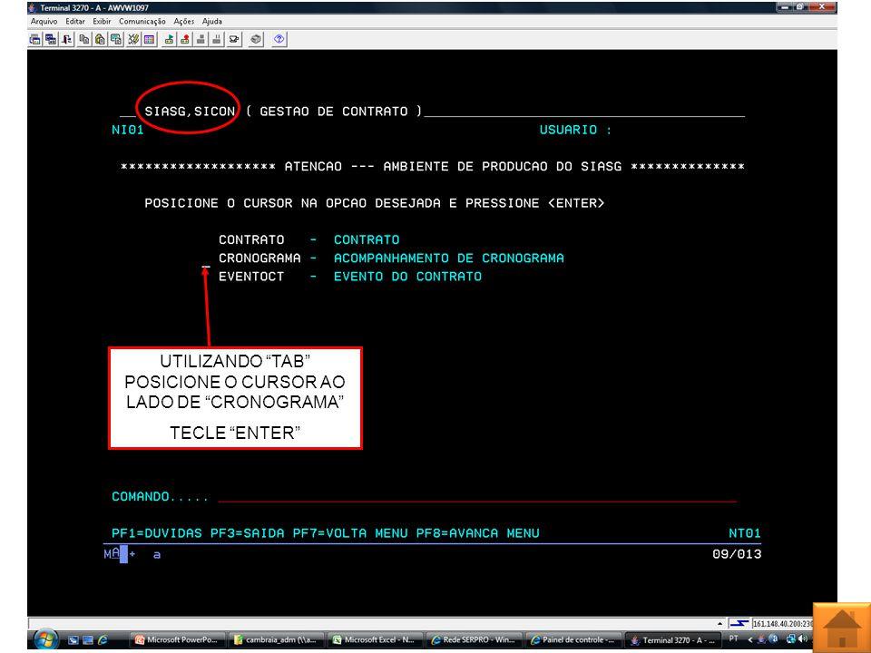 UTILIZANDO TAB POSICIONE O CURSOR AO LADO DE CRONOGRAMA TECLE ENTER