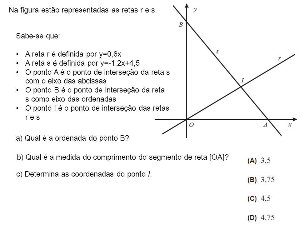Na figura estão representadas as retas r e s. Sabe-se que: A reta r é definida por y=0,6x A reta s é definida por y=-1,2x+4,5 O ponto A é o ponto de i