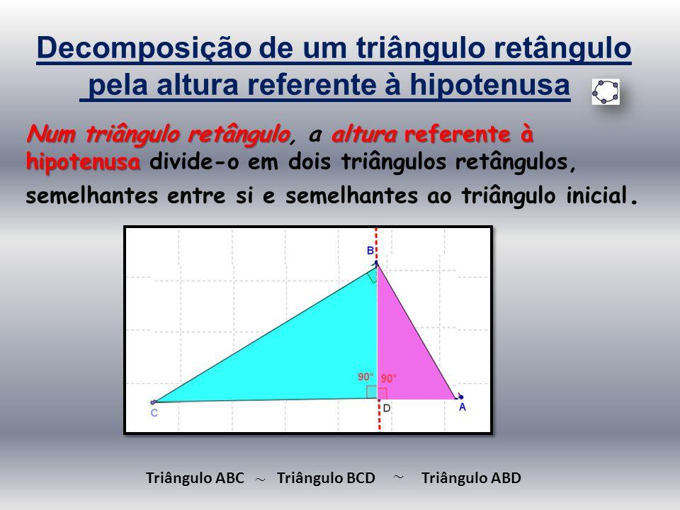 Decomposição de um triângulo retângulo pela altura referente à hipotenusa Num triângulo retânguloalturareferente à hipotenusa Num triângulo retângulo,
