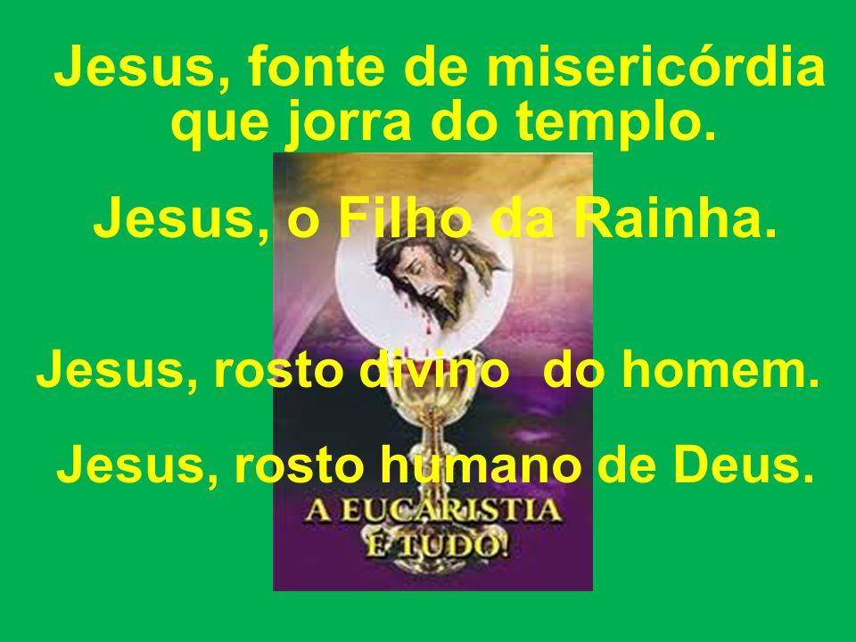 Jesus, fonte de misericórdia que jorra do templo.Jesus, o Filho da Rainha.