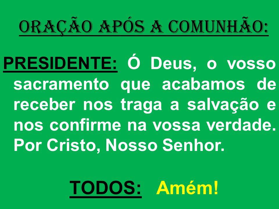 ORAÇÃO APÓS A COMUNHÃO: PRESIDENTE: Ó Deus, o vosso sacramento que acabamos de receber nos traga a salvação e nos confirme na vossa verdade.