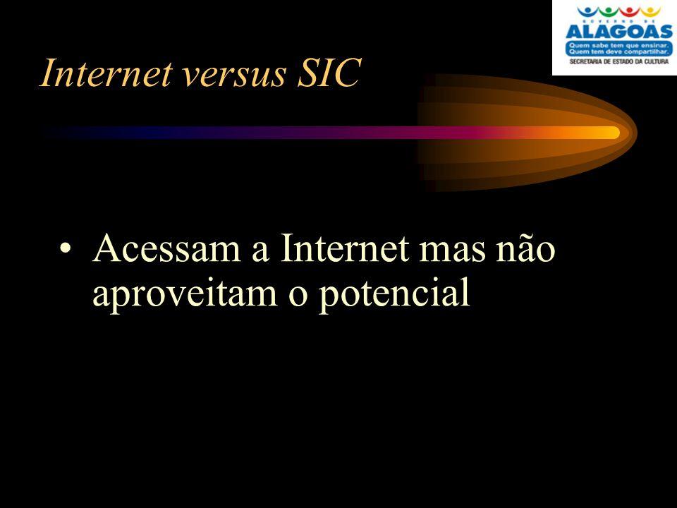 Internet versus SIC Acessam a Internet mas não aproveitam o potencial