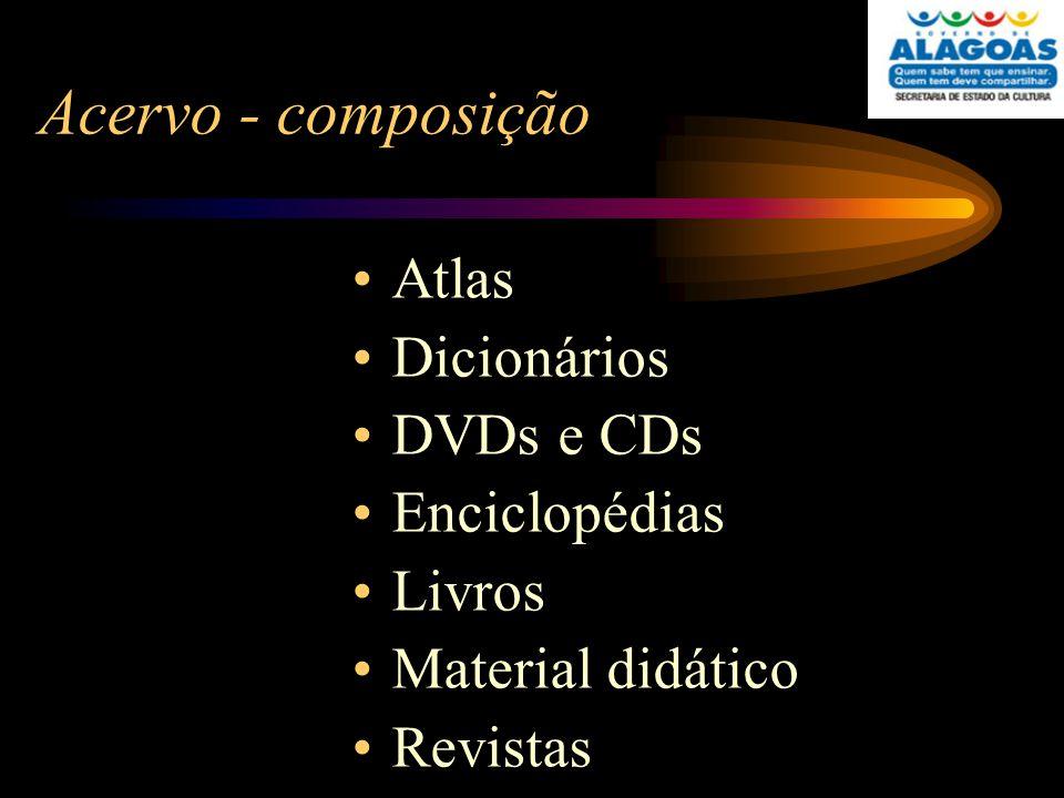 Acervo - composição Atlas Dicionários DVDs e CDs Enciclopédias Livros Material didático Revistas