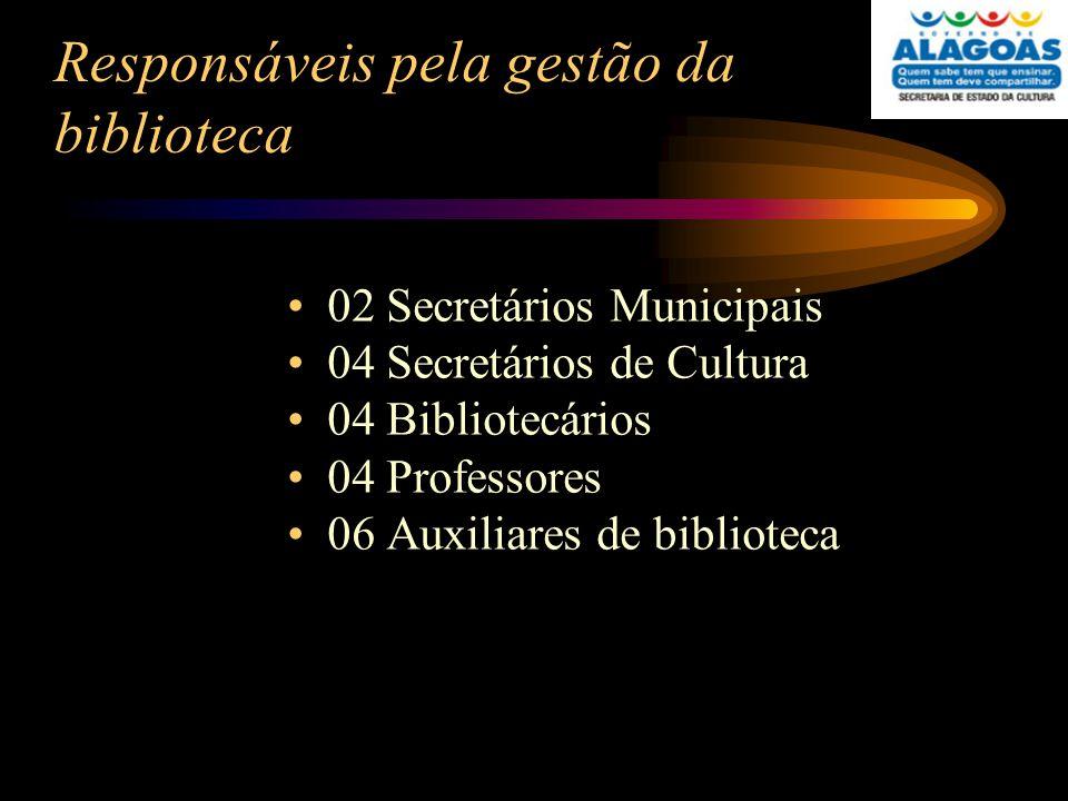 Responsáveis pela gestão da biblioteca 02 Secretários Municipais 04 Secretários de Cultura 04 Bibliotecários 04 Professores 06 Auxiliares de bibliotec