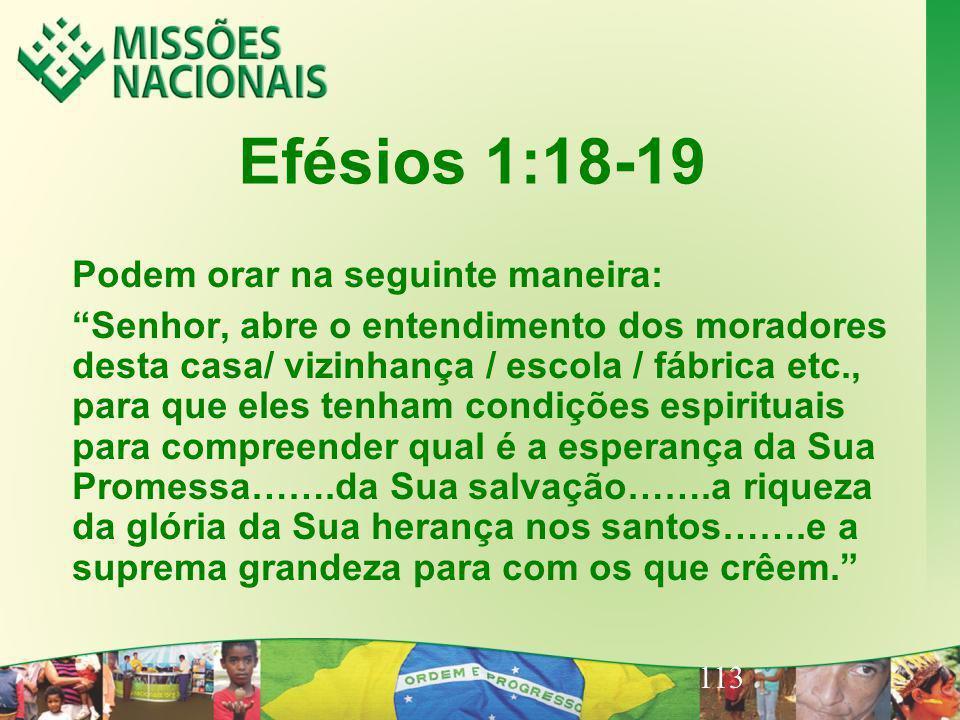 113 Efésios 1:18-19 Podem orar na seguinte maneira: Senhor, abre o entendimento dos moradores desta casa/ vizinhança / escola / fábrica etc., para que