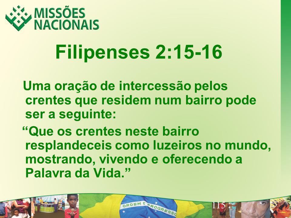 115 Filipenses 2:15-16 Uma oração de intercessão pelos crentes que residem num bairro pode ser a seguinte: Que os crentes neste bairro resplandeceis c