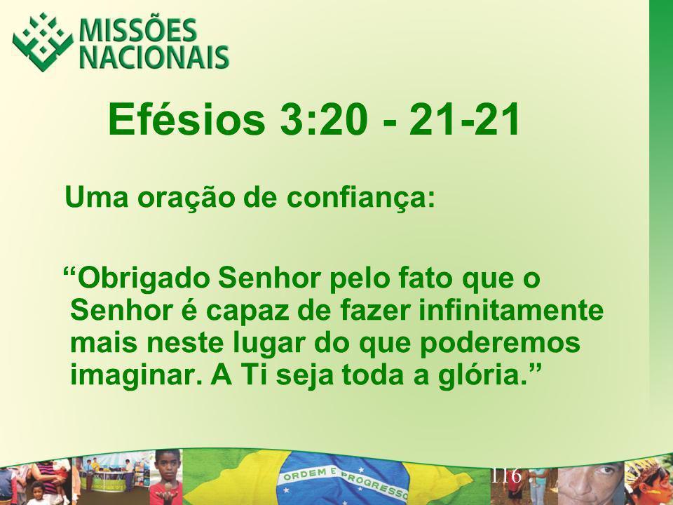 116 Efésios 3:20 - 21-21 Uma oração de confiança: Obrigado Senhor pelo fato que o Senhor é capaz de fazer infinitamente mais neste lugar do que podere