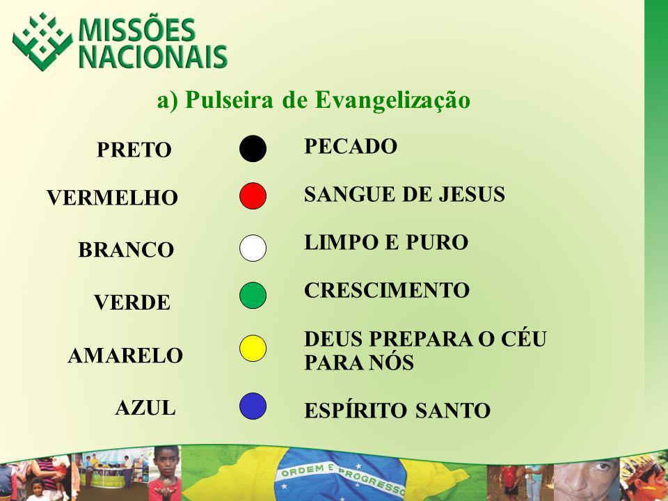 a) Pulseira de Evangelização PECADO SANGUE DE JESUS LIMPO E PURO CRESCIMENTO DEUS PREPARA O CÉU PARA NÓS ESPÍRITO SANTO PRETO VERMELHO BRANCO VERDE AM