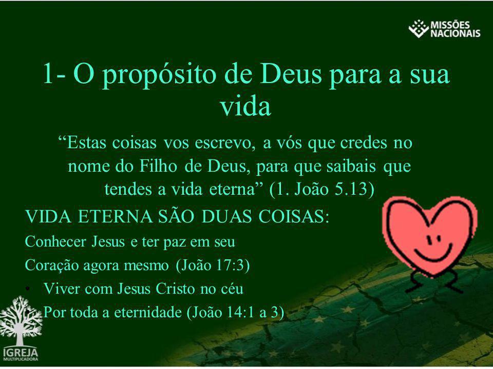 1- O propósito de Deus para a sua vida Estas coisas vos escrevo, a vós que credes no nome do Filho de Deus, para que saibais que tendes a vida eterna