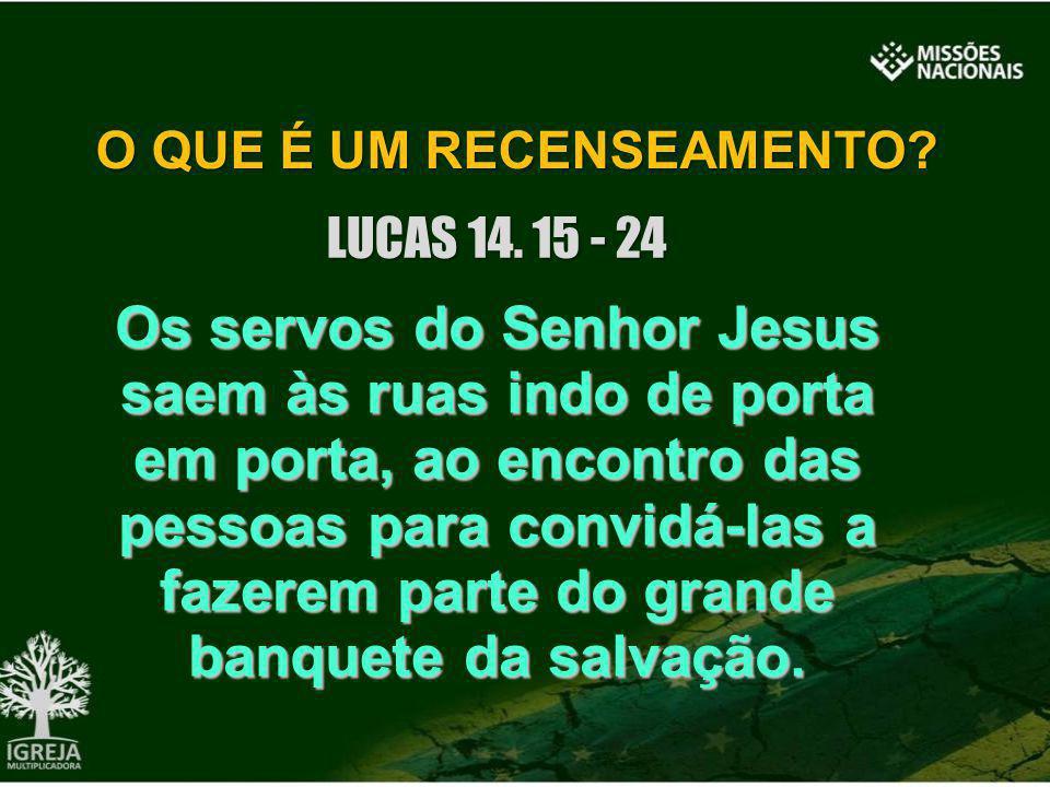 O QUE É UM RECENSEAMENTO? LUCAS 14. 15 - 24 Os servos do Senhor Jesus saem às ruas indo de porta em porta, ao encontro das pessoas para convidá-las a