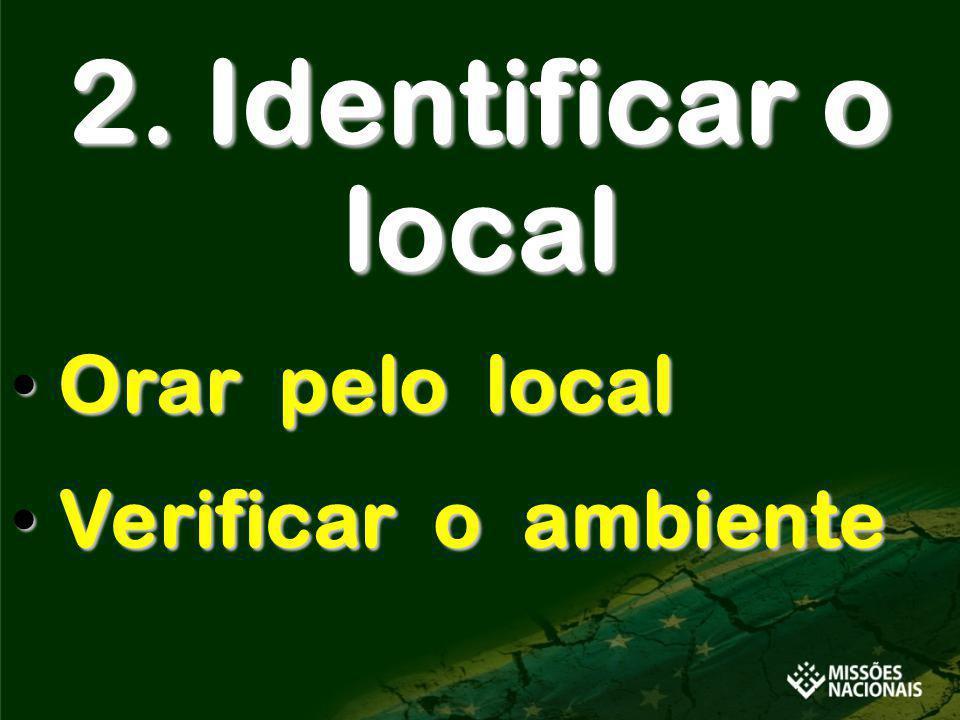 2. Identificar o local Orar pelo local Orar pelo local Verificar o ambiente Verificar o ambiente