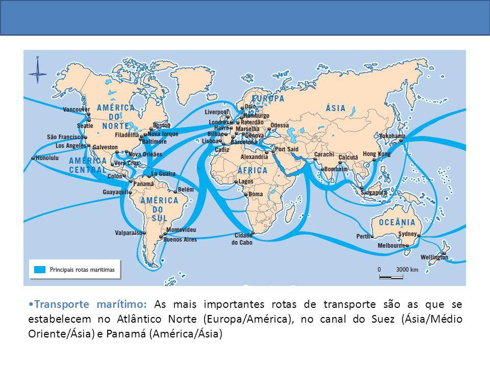 Transporte marítimo: As mais importantes rotas de transporte são as que se estabelecem no Atlântico Norte (Europa/América), no canal do Suez (Ásia/Méd