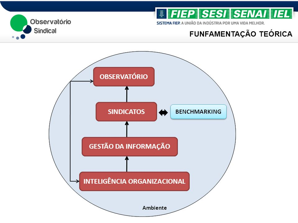 Ambiente OBSERVATÓRIO SINDICATOS GESTÃO DA INFORMAÇÃO INTELIGÊNCIA ORGANIZACIONAL BENCHMARKING FUNFAMENTAÇÃO TEÓRICA