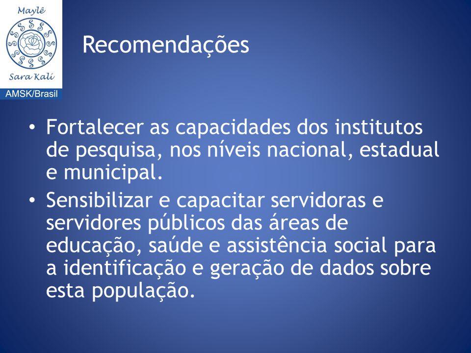 Recomendações Fortalecer as capacidades dos institutos de pesquisa, nos níveis nacional, estadual e municipal.