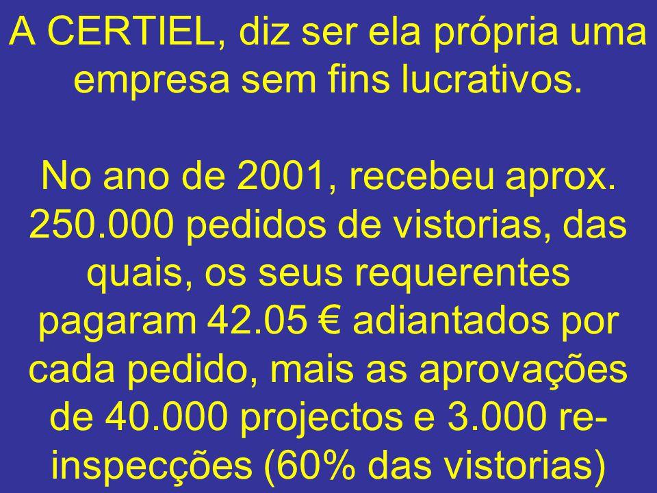 A CERTIEL, diz ser ela própria uma empresa sem fins lucrativos. No ano de 2001, recebeu aprox. 250.000 pedidos de vistorias, das quais, os seus requer