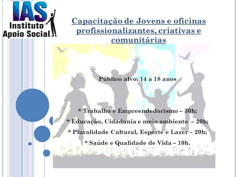 Público alvo: 14 a 18 anos * Trabalho e Empreendedorismo – 30h; * Educação, Cidadania e meio ambiente – 20h; * Pluralidade Cultural, Esporte e Lazer –