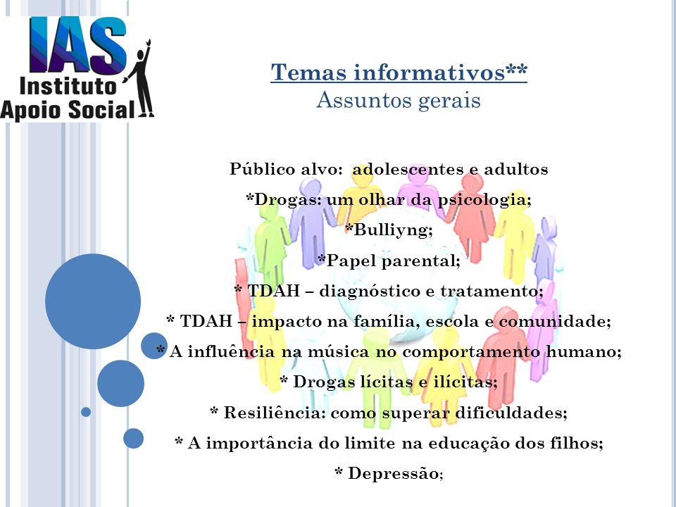 Público alvo: adolescentes e adultos *Drogas: um olhar da psicologia; *Bulliyng; *Papel parental; * TDAH – diagnóstico e tratamento; * TDAH – impacto