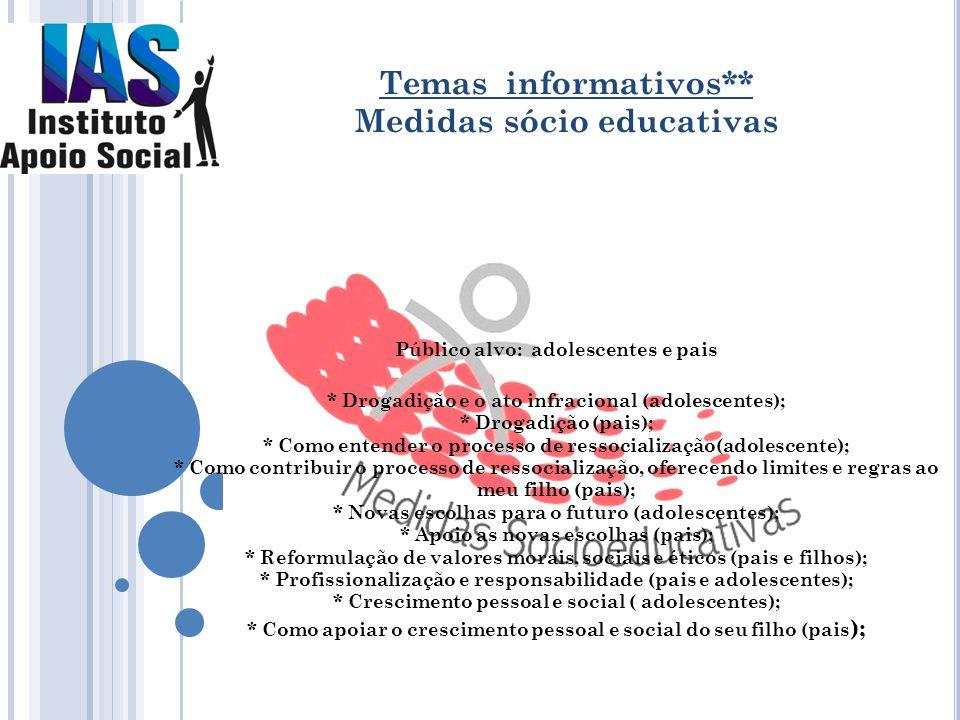 Público alvo: adolescentes e pais * Drogadição e o ato infracional (adolescentes); * Drogadição (pais); * Como entender o processo de ressocialização(