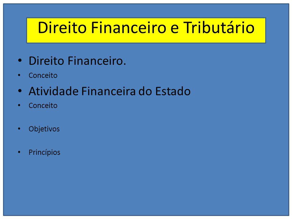 Direito Financeiro e Tributário Direito Financeiro. Conceito Atividade Financeira do Estado Conceito Objetivos Princípios
