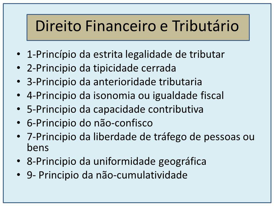 Direito Financeiro e Tributário 10-Principio da seletividade 11-Principio da proporcionalidade e progressividade 12-Principio da não discriminação tributaria em razão da procedência ou destino dos bens 13-Principio da territorialidade
