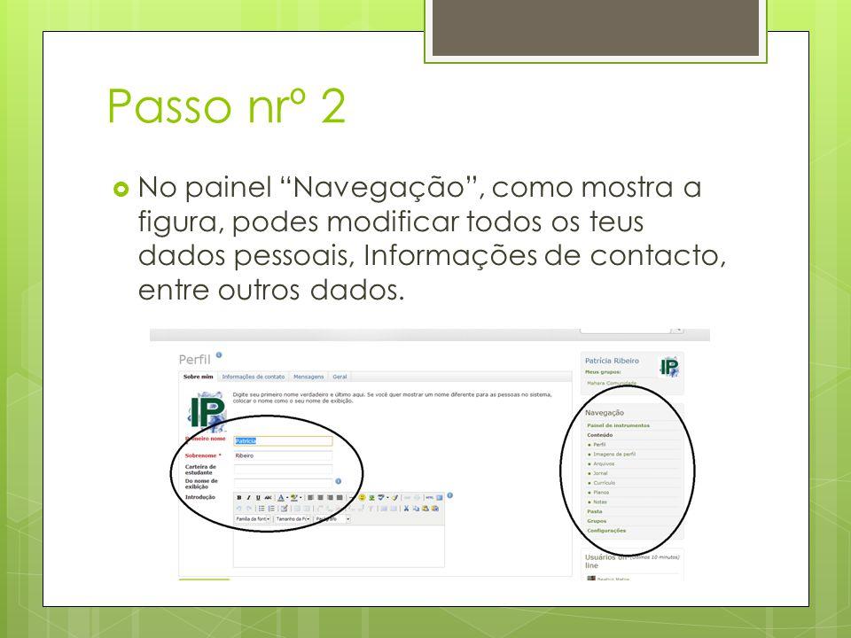 Passo nrº 2 No painel Navegação, como mostra a figura, podes modificar todos os teus dados pessoais, Informações de contacto, entre outros dados.