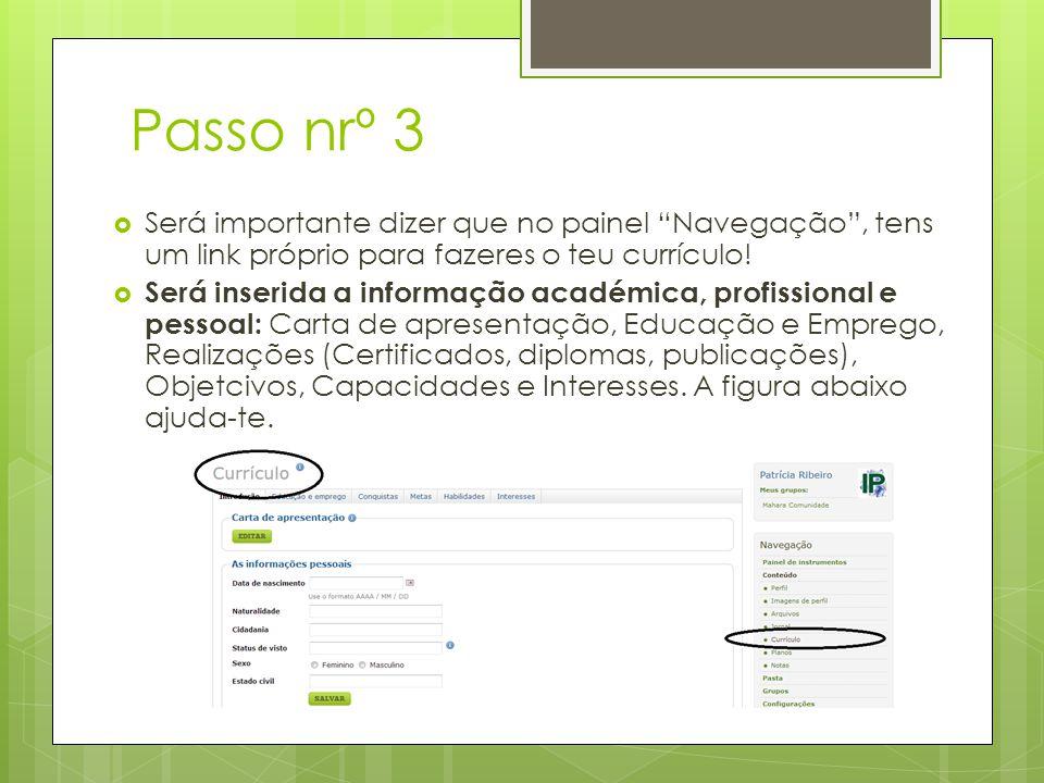 Passo nrº 3 Será importante dizer que no painel Navegação, tens um link próprio para fazeres o teu currículo.