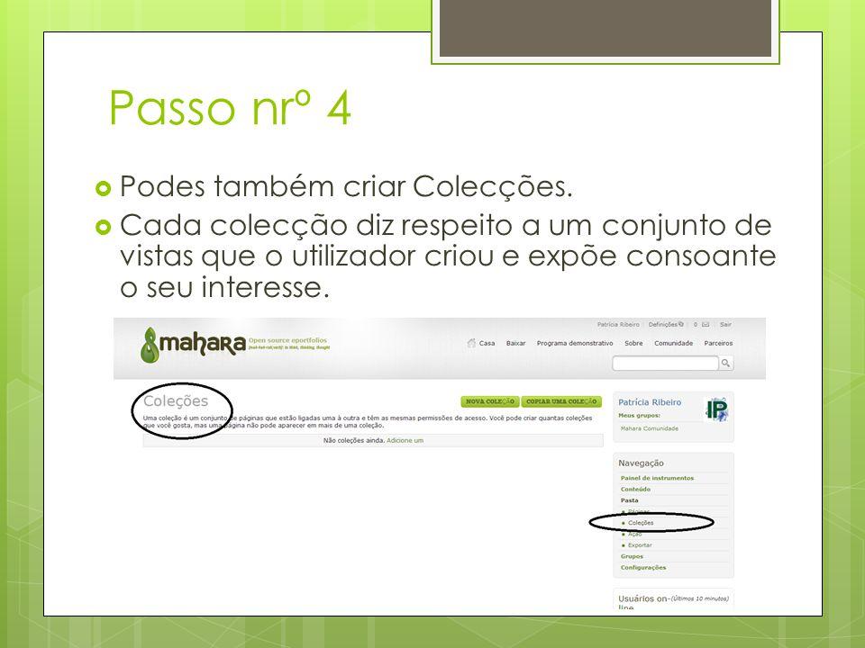 Passo nrº 4 Podes também criar Colecções.