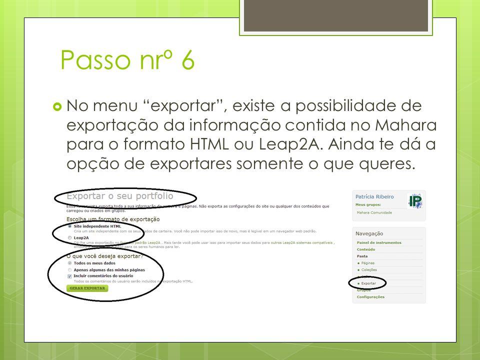 Passo nrº 6 No menu exportar, existe a possibilidade de exportação da informação contida no Mahara para o formato HTML ou Leap2A.